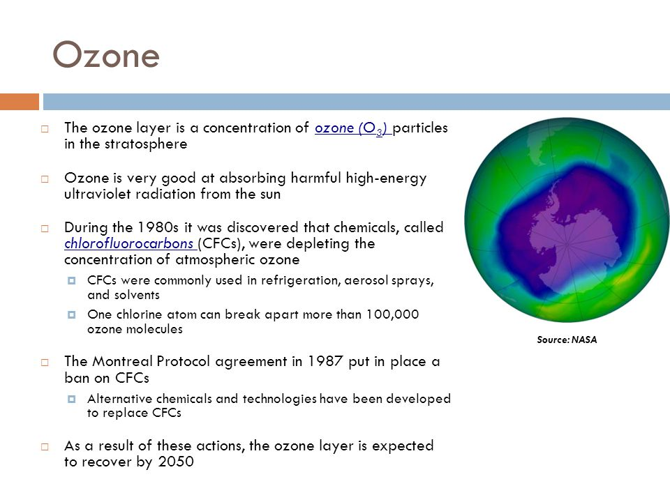 Ozone The ozone layer is a concentration of ozone (O 3 ) particles in the stratosphere Ozone is very good at absorbing harmful high-energy ultraviolet radiation from the sun During the 1980s it was discovered that chemicals, called chlorofluorocarbons (CFCs), were depleting the concentration of atmospheric ozone CFCs were commonly used in refrigeration, aerosol sprays, and solvents One chlorine atom can break apart more than 100,000 ozone molecules The Montreal Protocol agreement in 1987 put in place a ban on CFCs Alternative chemicals and technologies have been developed to replace CFCs As a result of these actions, the ozone layer is expected to recover by 2050 Source: NASA