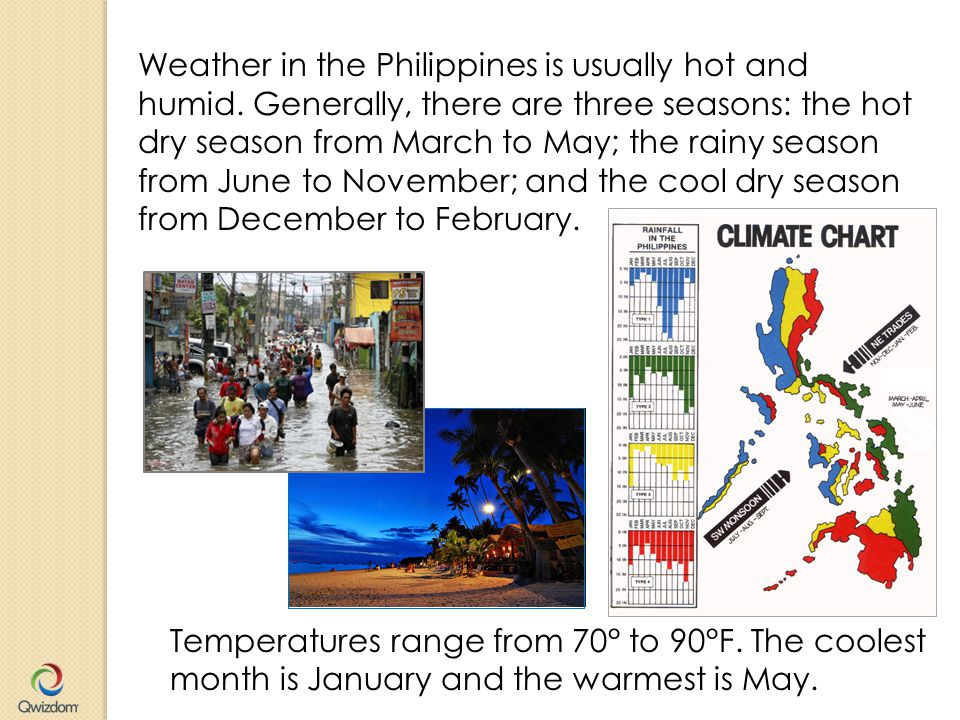 Weather in the Philippines is usually hot and humid.