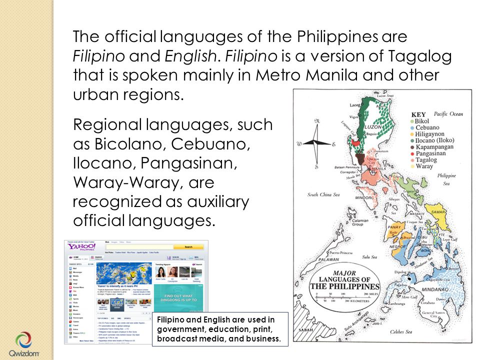 The official languages of the Philippines are Filipino and English.