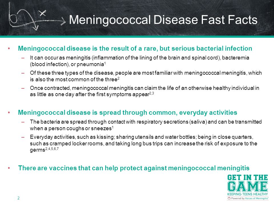 Meningococcal Disease Fast Facts Meningococcal disease is the result of a rare, but serious bacterial infection –It can occur as meningitis (inflammation of the lining of the brain and spinal cord), bacteremia (blood infection), or pneumonia 1 –Of these three types of the disease, people are most familiar with meningococcal meningitis, which is also the most common of the three 2 –Once contracted, meningococcal meningitis can claim the life of an otherwise healthy individual in as little as one day after the first symptoms appear 2,3 Meningococcal disease is spread through common, everyday activities –The bacteria are spread through contact with respiratory secretions (saliva) and can be transmitted when a person coughs or sneezes 1 –Everyday activities, such as kissing; sharing utensils and water bottles; being in close quarters, such as cramped locker rooms, and taking long bus trips can increase the risk of exposure to the germs 2,4,5,6,7 There are vaccines that can help protect against meningococcal meningitis 2