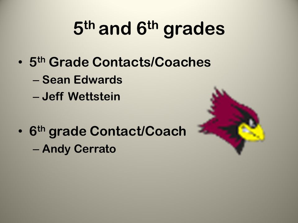 5 th and 6 th grades 5 th Grade Contacts/Coaches – Sean Edwards – Jeff Wettstein 6 th grade Contact/Coach – Andy Cerrato