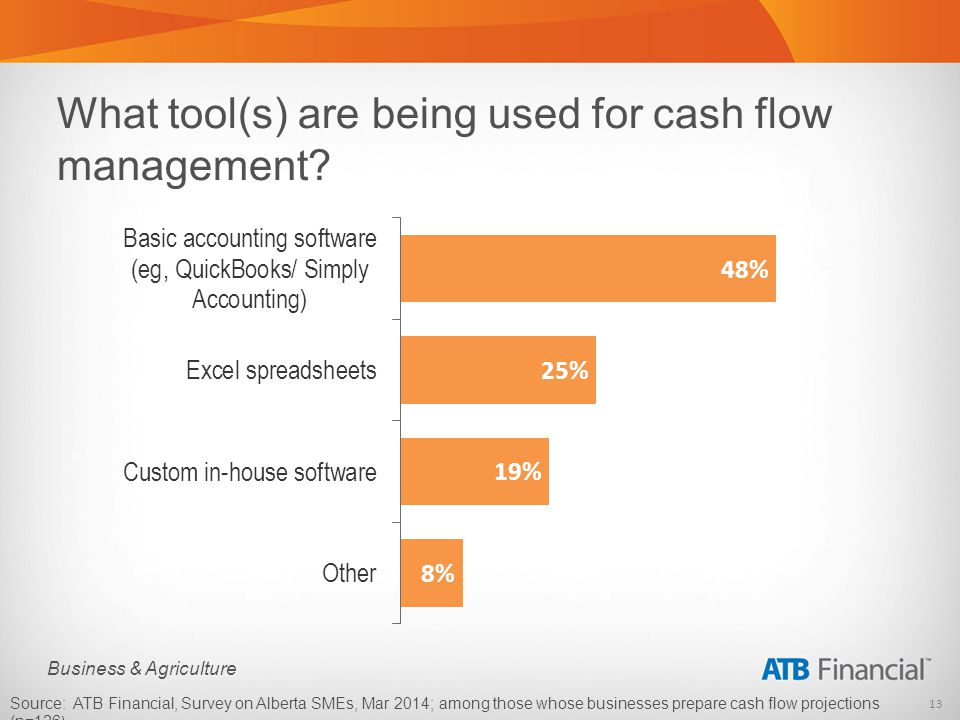 13 Business & Agriculture What tool(s) are being used for cash flow management.