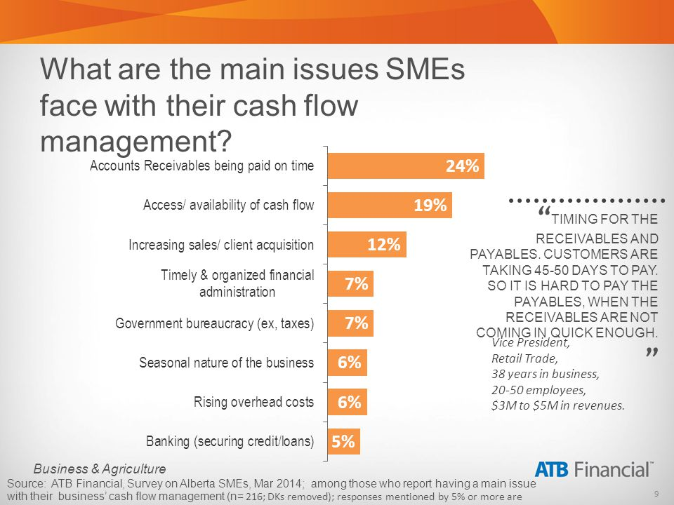 9 Business & Agriculture What are the main issues SMEs face with their cash flow management.