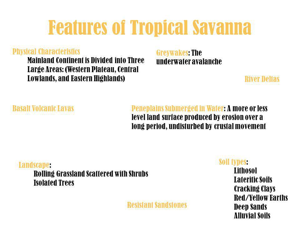 Features of Tropical Savanna Landscape: Rolling Grassland Scattered with Shrubs Isolated Trees Physical Characteristics Mainland Continent is Divided into Three Large Areas: (Western Plateau, Central Lowlands, and Eastern Highlands) Soil types: Lithosol Lateritic Soils Cracking Clays Red/Yellow Earths Deep Sands Alluvial Soils Peneplains Submerged in Water: A more or less level land surface produced by erosion over a long period, undisturbed by crustal movement Greywakes: The underwater avalanche River Deltas Resistant Sandstones Basalt Volcanic Lavas