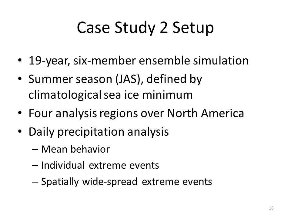 Case Study 2 Setup 19-year, six-member ensemble simulation Summer season (JAS), defined by climatological sea ice minimum Four analysis regions over North America Daily precipitation analysis – Mean behavior – Individual extreme events – Spatially wide-spread extreme events 18