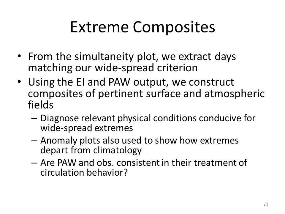 Extreme Composites From the simultaneity plot, we extract days matching our wide-spread criterion Using the EI and PAW output, we construct composites of pertinent surface and atmospheric fields – Diagnose relevant physical conditions conducive for wide-spread extremes – Anomaly plots also used to show how extremes depart from climatology – Are PAW and obs.