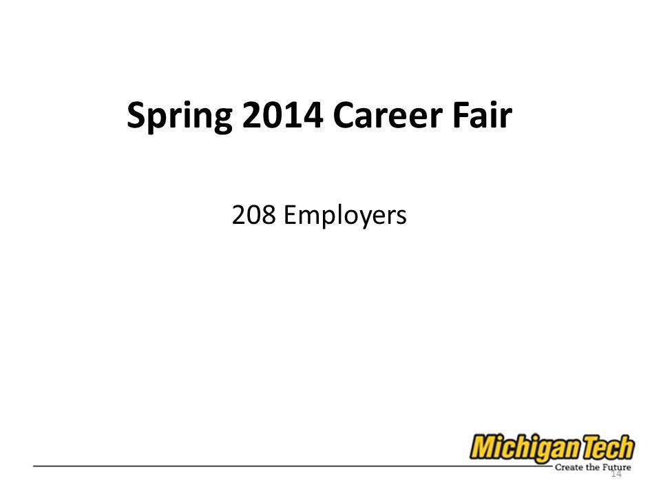 Spring 2014 Career Fair 208 Employers 14