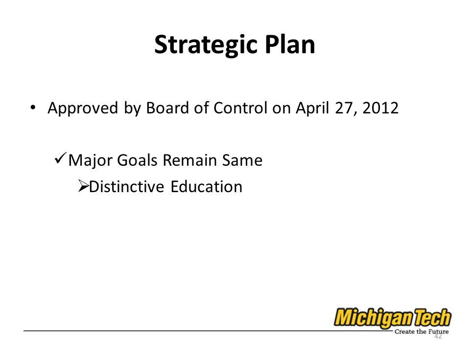 Strategic Plan Approved by Board of Control on April 27, 2012 Major Goals Remain Same Distinctive Education 42