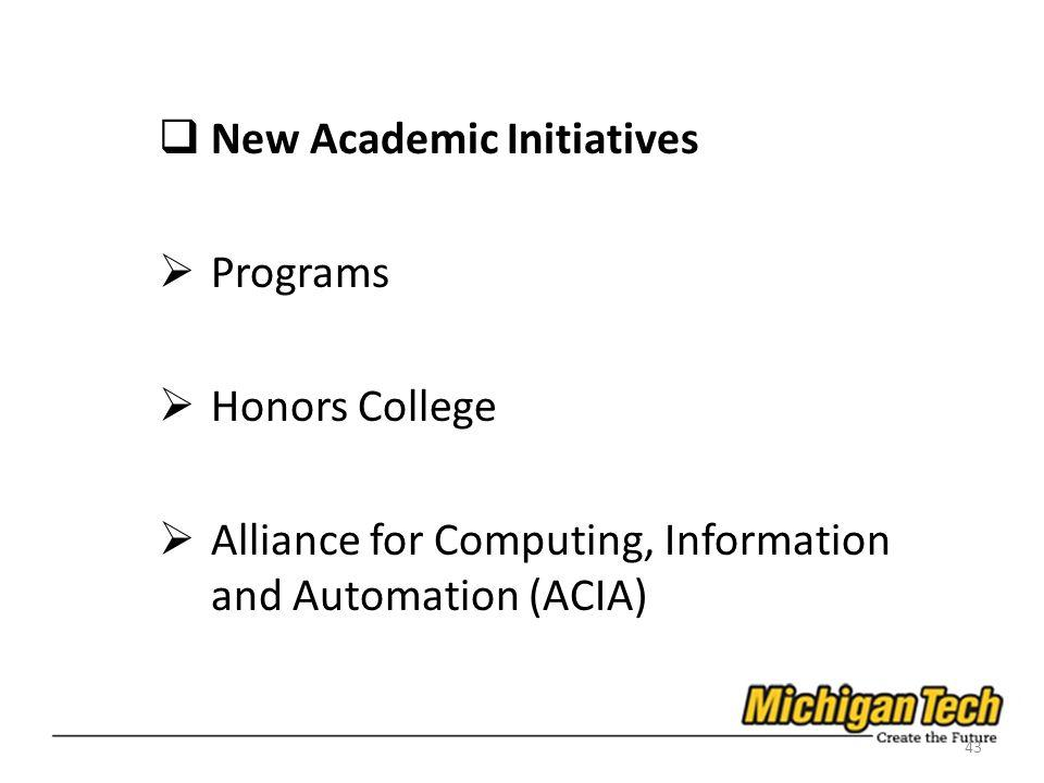 New Academic Initiatives Programs Honors College Alliance for Computing, Information and Automation (ACIA) 43