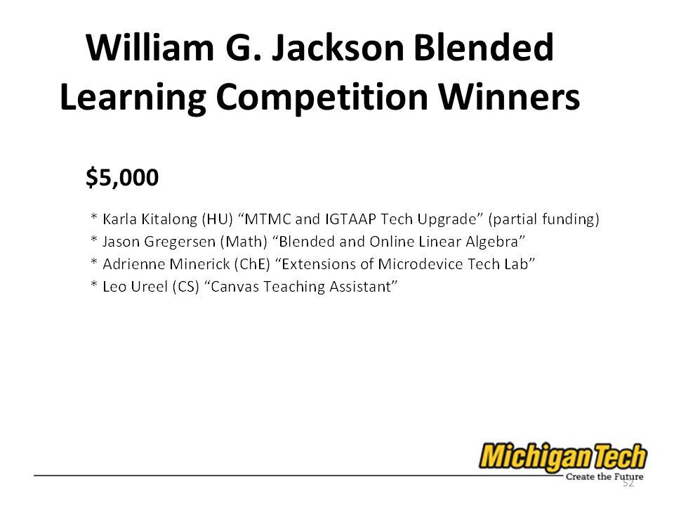 William G. Jackson Blended Learning Competition Winners $5,000 52