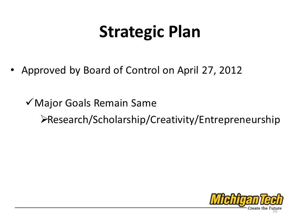 Strategic Plan Approved by Board of Control on April 27, 2012 Major Goals Remain Same Research/Scholarship/Creativity/Entrepreneurship 56