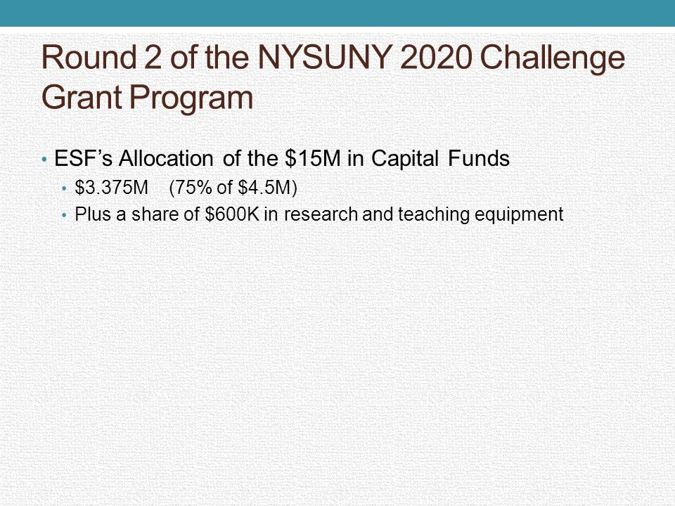 Round 2 of the NYSUNY 2020 Challenge Grant Program ESFs Allocation of the $15M in Capital Funds $3.375M (75% of $4.5M) Plus a share of $600K in resear