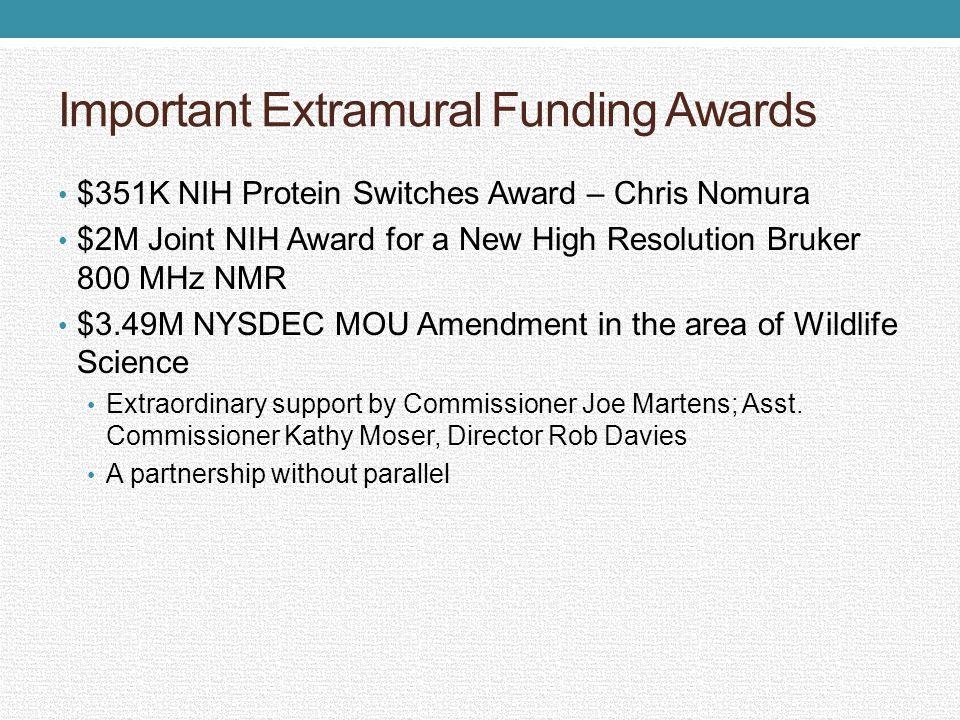 Important Extramural Funding Awards $351K NIH Protein Switches Award – Chris Nomura $2M Joint NIH Award for a New High Resolution Bruker 800 MHz NMR $