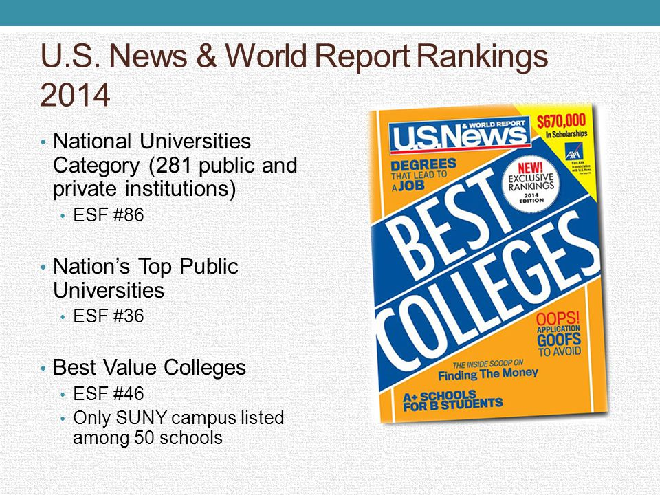 U.S. News & World Report Rankings 2014 National Universities Category (281 public and private institutions) ESF #86 Nations Top Public Universities ES
