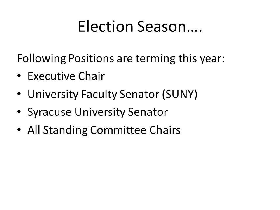 Election Season…. Following Positions are terming this year: Executive Chair University Faculty Senator (SUNY) Syracuse University Senator All Standin