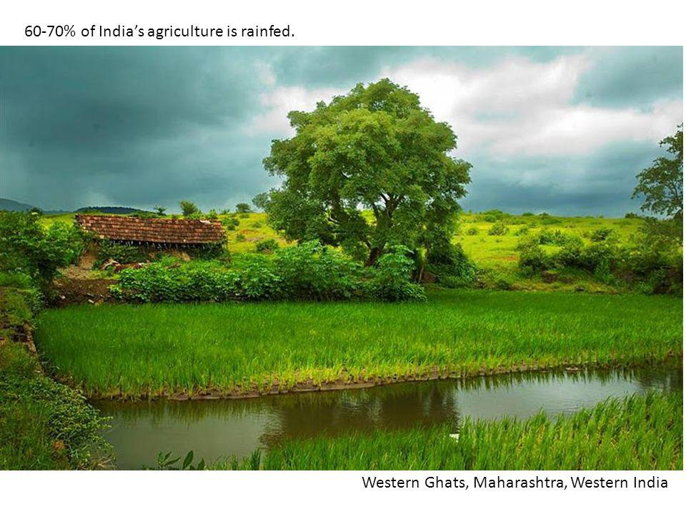 60-70% of Indias agriculture is rainfed. Western Ghats, Maharashtra, Western India