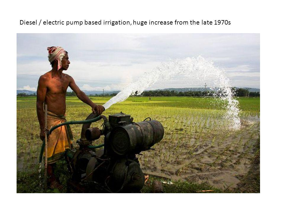 Diesel / electric pump based irrigation, huge increase from the late 1970s