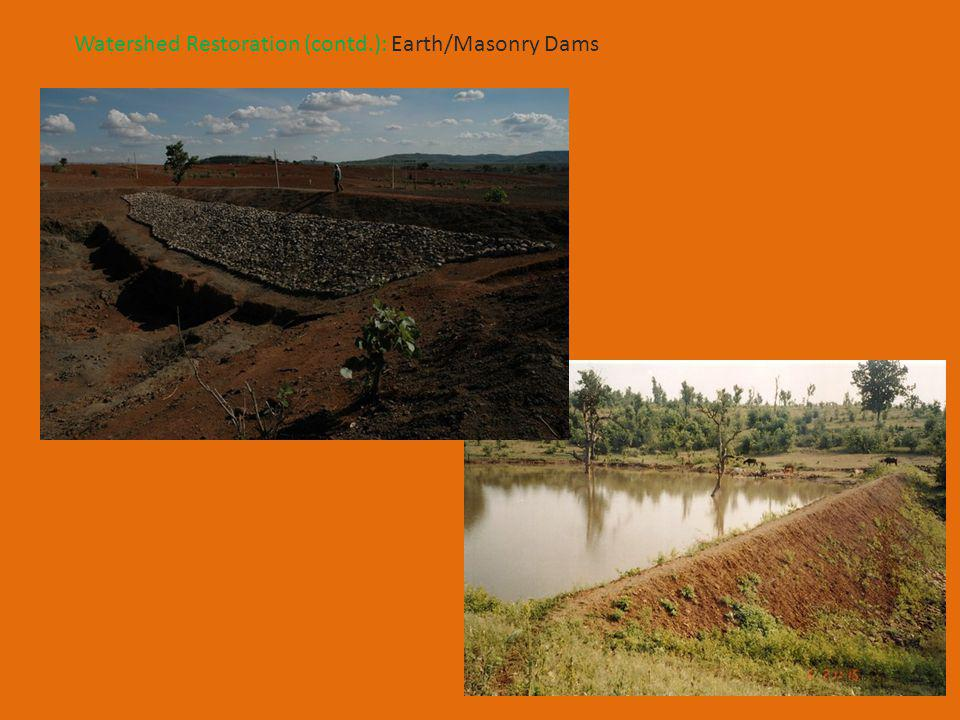 Watershed Restoration (contd.): Earth/Masonry Dams