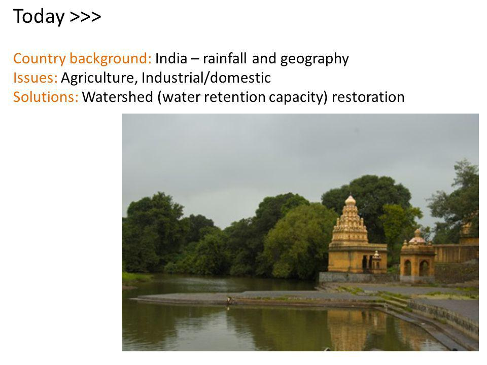 Today >>> Country background: India – rainfall and geography Issues: Agriculture, Industrial/domestic Solutions: Watershed (water retention capacity) restoration