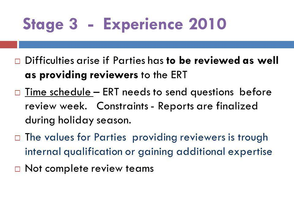 Stage 3 - Experience 2010 Difficulties arise if Parties has to be reviewed as well as providing reviewers to the ERT Time schedule – ERT needs to send