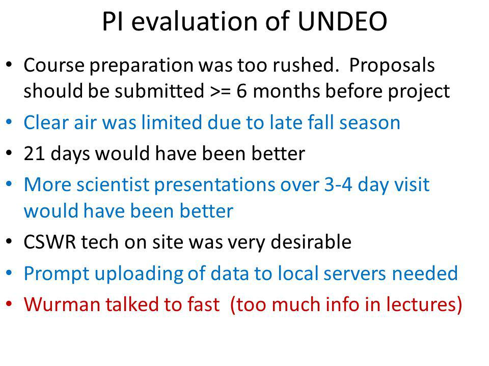 PI evaluation of UNDEO Course preparation was too rushed.