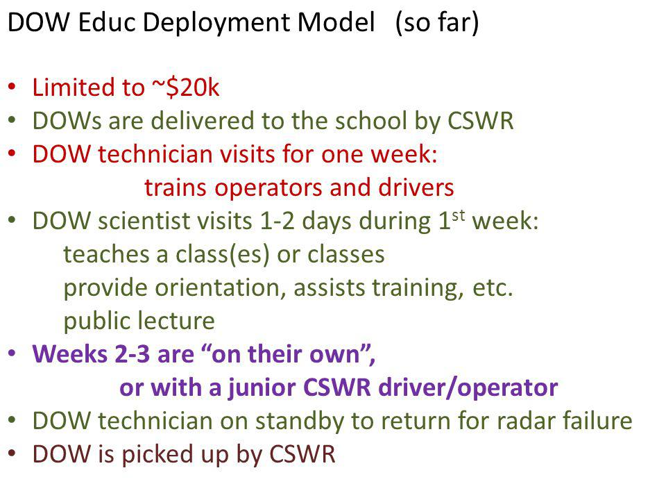 Limited to ~$20k DOWs are delivered to the school by CSWR DOW technician visits for one week: trains operators and drivers DOW scientist visits 1-2 days during 1 st week: teaches a class(es) or classes provide orientation, assists training, etc.