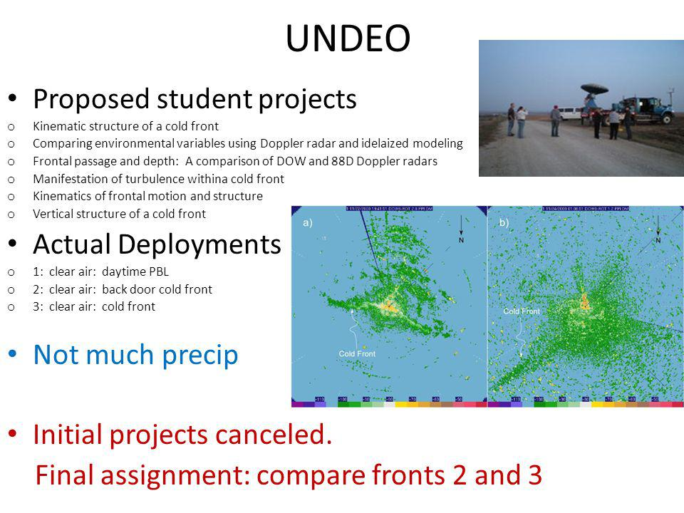 UNDEO Proposed student projects o Kinematic structure of a cold front o Comparing environmental variables using Doppler radar and idelaized modeling o Frontal passage and depth: A comparison of DOW and 88D Doppler radars o Manifestation of turbulence withina cold front o Kinematics of frontal motion and structure o Vertical structure of a cold front Actual Deployments o 1: clear air: daytime PBL o 2: clear air: back door cold front o 3: clear air: cold front Not much precip Initial projects canceled.