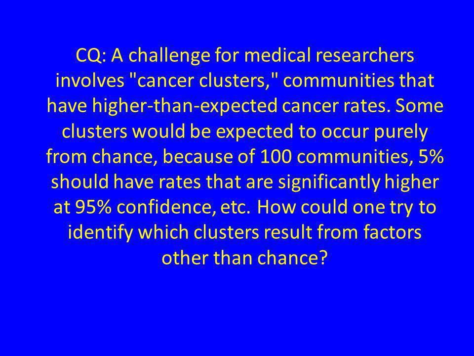CQ: A challenge for medical researchers involves cancer clusters, communities that have higher-than-expected cancer rates.