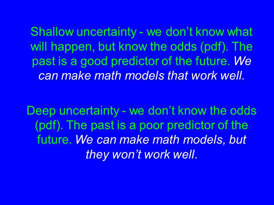 Shallow uncertainty - we dont know what will happen, but know the odds (pdf).