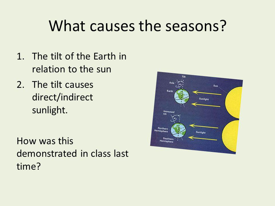 What causes the seasons? 1.The tilt of the Earth in relation to the sun 2.The tilt causes direct/indirect sunlight. How was this demonstrated in class