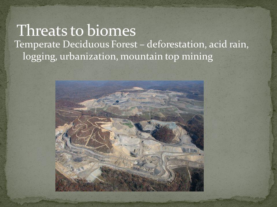 Temperate Deciduous Forest – deforestation, acid rain, logging, urbanization, mountain top mining