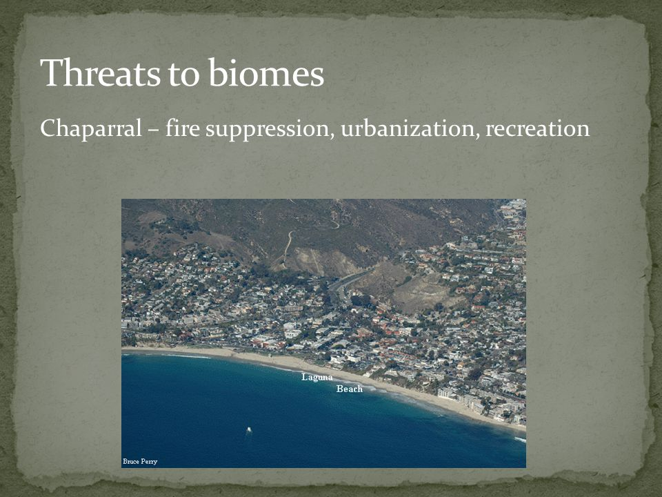 Chaparral – fire suppression, urbanization, recreation