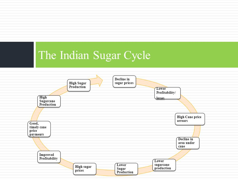 The Indian Sugar Cycle Decline in sugar prices Lower Profitability/ losses High Cane price arrears Decline in area under cane Lower sugarcane producti