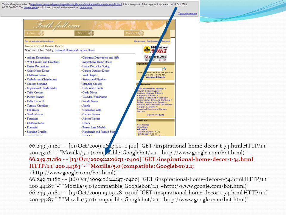 66.249.71.180 - - [01/Oct/2009:06:13:00 -0400] GET /inspirational-home-decor-t-34.html HTTP/1.1 200 43116 - Mozilla/5.0 (compatible; Googlebot/2.1; +http://www.google.com/bot.html) 66.249.71.180 - - [13/Oct/2009:22:06:31 -0400] GET /inspirational-home-decor-t-34.html HTTP/1.1 200 44363 - Mozilla/5.0 (compatible; Googlebot/2.1; +http://www.google.com/bot.html) 66.249.71.180 - - [16/Oct/2009:06:44:47 -0400] GET /inspirational-home-decor-t-34.html HTTP/1.1 200 44287 - Mozilla/5.0 (compatible; Googlebot/2.1; +http://www.google.com/bot.html) 66.249.71.180 - - [19/Oct/2009:19:09:28 -0400] GET /inspirational-home-decor-t-34.html HTTP/1.1 200 44287 - Mozilla/5.0 (compatible; Googlebot/2.1; +http://www.google.com/bot.html)