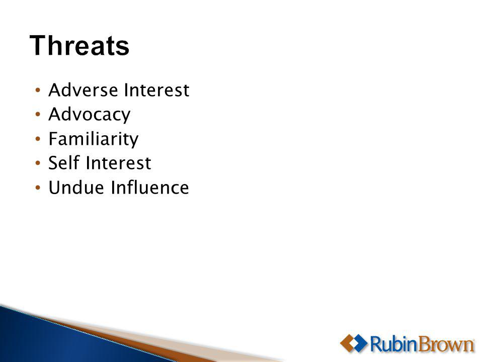 Adverse Interest Advocacy Familiarity Self Interest Undue Influence