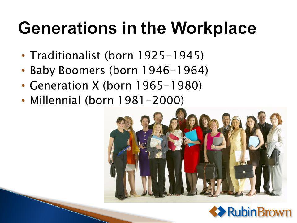 Traditionalist (born 1925-1945) Baby Boomers (born 1946-1964) Generation X (born 1965-1980) Millennial (born 1981-2000)