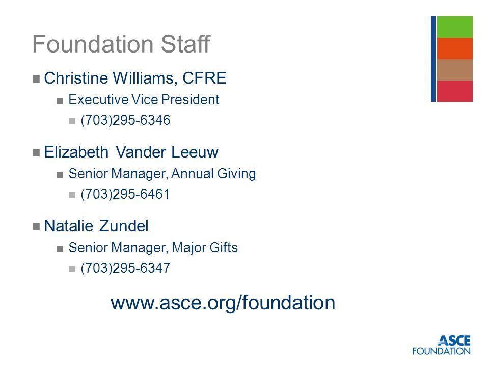Foundation Staff Christine Williams, CFRE Executive Vice President (703)295-6346 Elizabeth Vander Leeuw Senior Manager, Annual Giving (703)295-6461 Natalie Zundel Senior Manager, Major Gifts (703)295-6347 www.asce.org/foundation