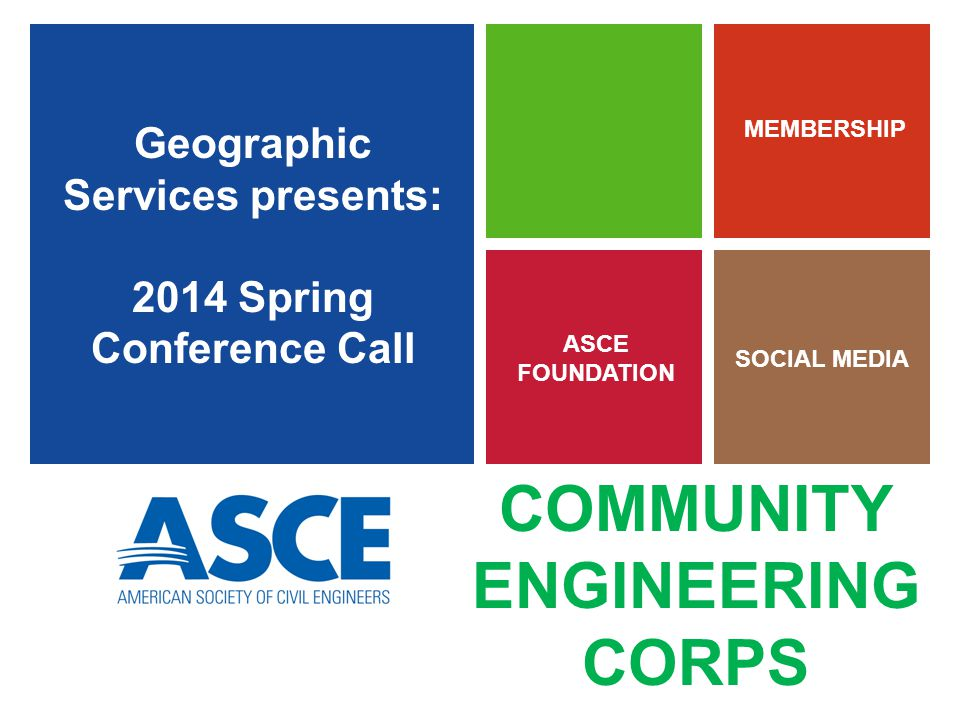 Geographic Services presents: 2014 Spring Conference Call ASCE FOUNDATION MEMBERSHIP SOCIAL MEDIA COMMUNITY ENGINEERING CORPS