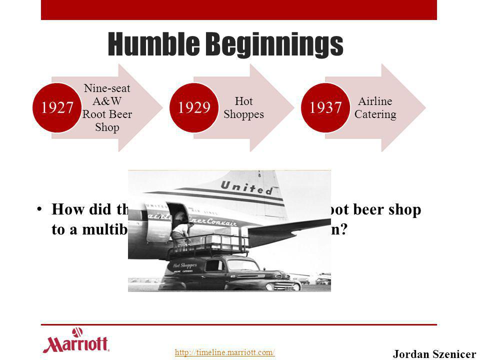 Humble Beginnings How did they evolve from a nine-seat root beer shop to a multibillion dollar hotel corporation? Nine-seat A&W Root Beer Shop 1927 Ho
