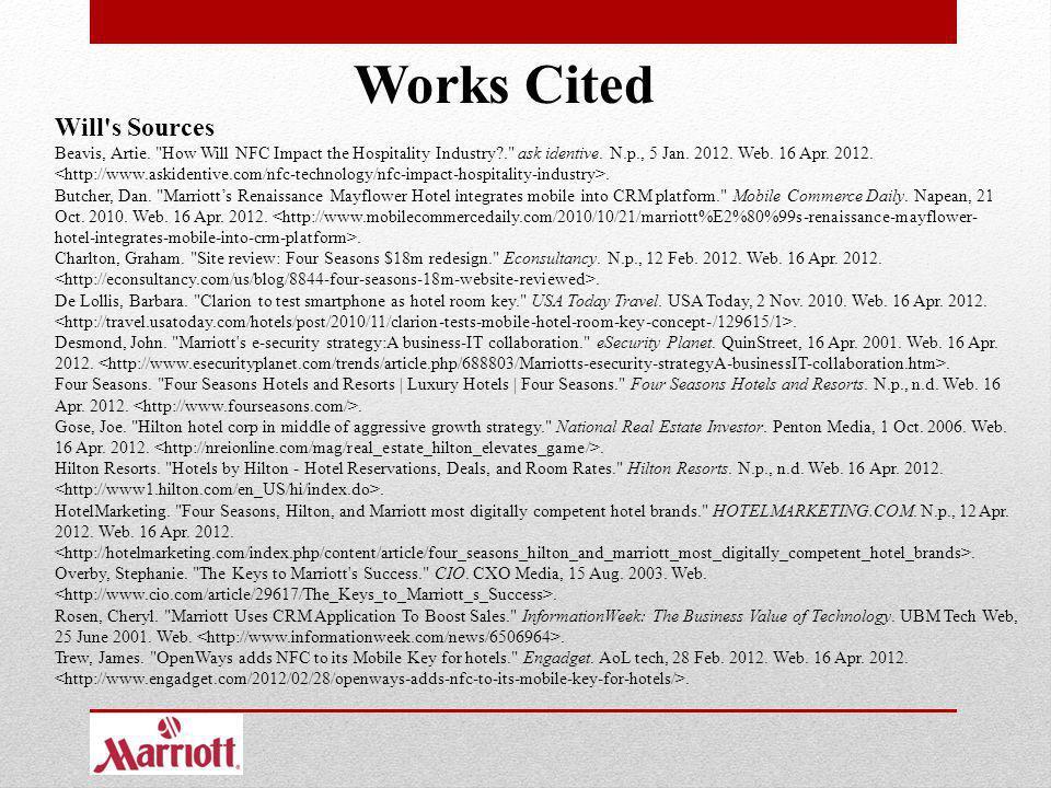 Works Cited Will's Sources Beavis, Artie.