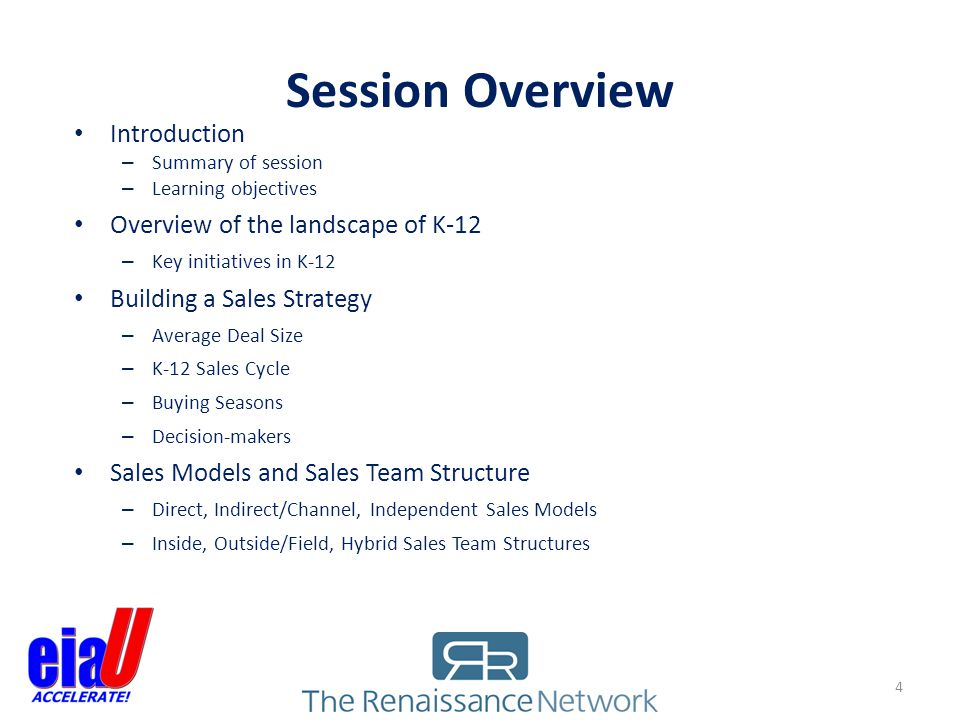 Session Overview Introduction – Summary of session – Learning objectives Overview of the landscape of K-12 – Key initiatives in K-12 Building a Sales