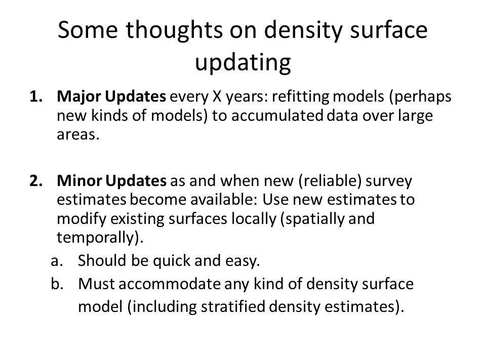 Some thoughts on density surface updating 1.Major Updates every X years: refitting models (perhaps new kinds of models) to accumulated data over large areas.