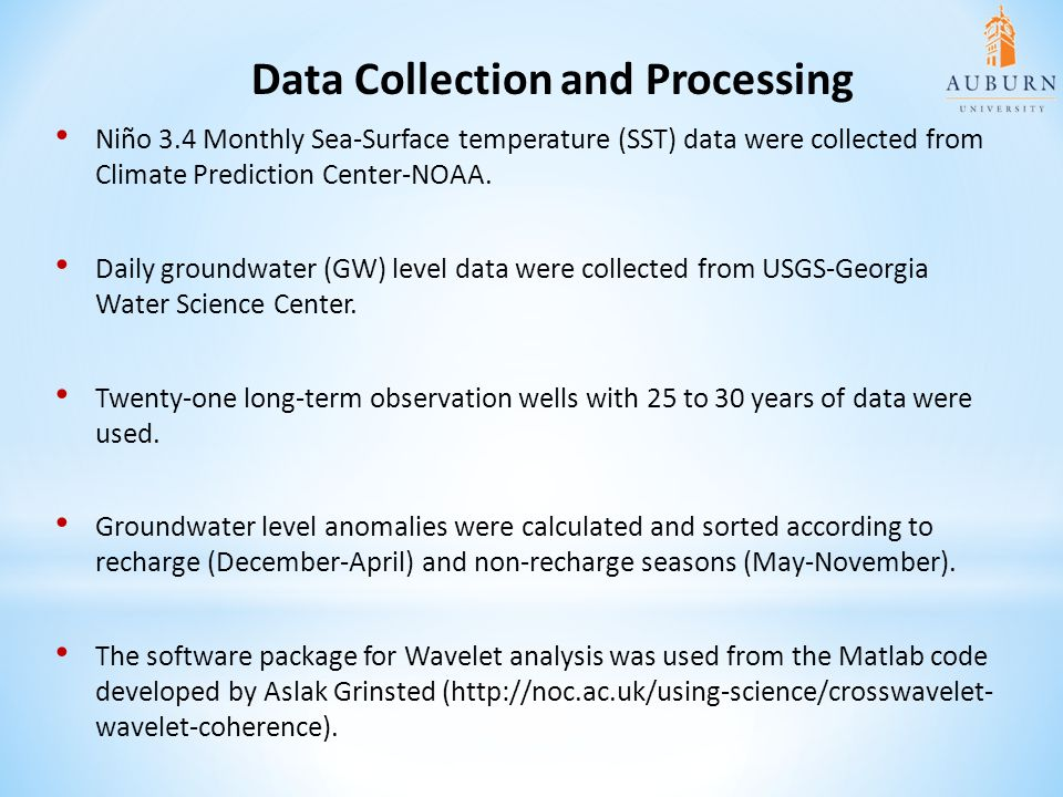 Data Collection and Processing Niño 3.4 Monthly Sea-Surface temperature (SST) data were collected from Climate Prediction Center-NOAA. Daily groundwat
