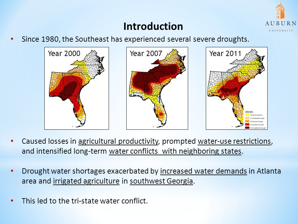 Since 1980, the Southeast has experienced several severe droughts. Introduction Year 2000Year 2007Year 2011 Caused losses in agricultural productivity