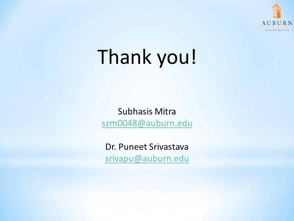 Thank you! Subhasis Mitra szm0048@auburn.edu Dr. Puneet Srivastava srivapu@auburn.edu