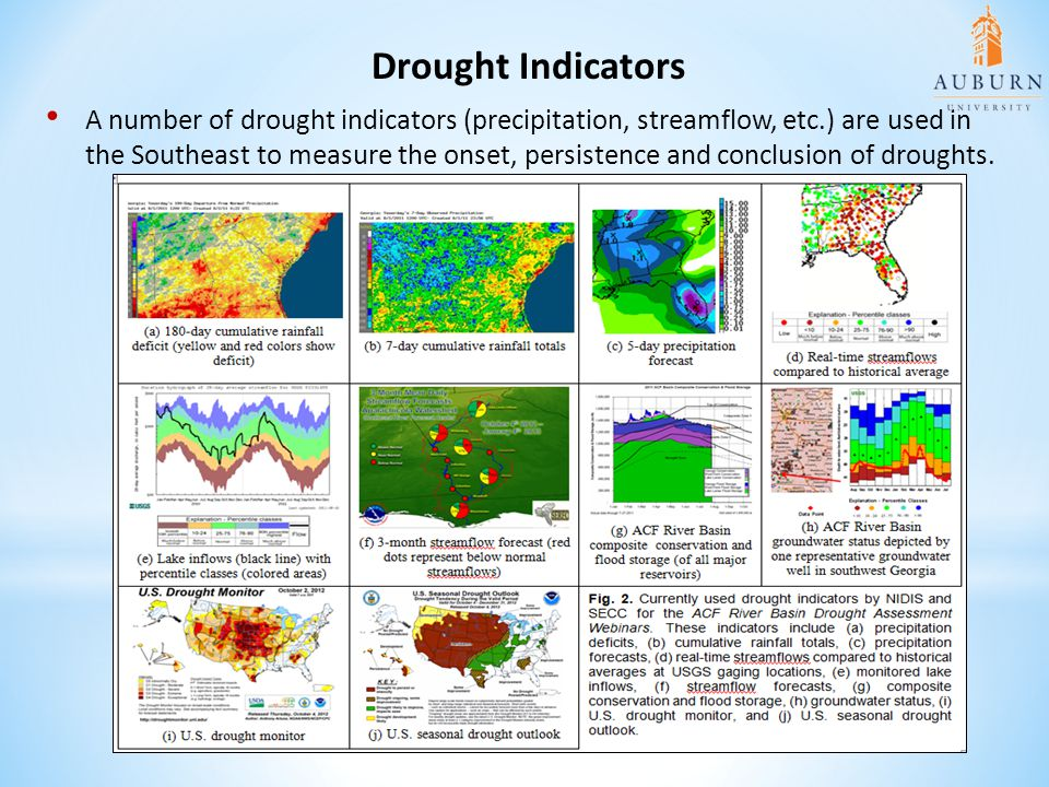 A number of drought indicators (precipitation, streamflow, etc.) are used in the Southeast to measure the onset, persistence and conclusion of drought