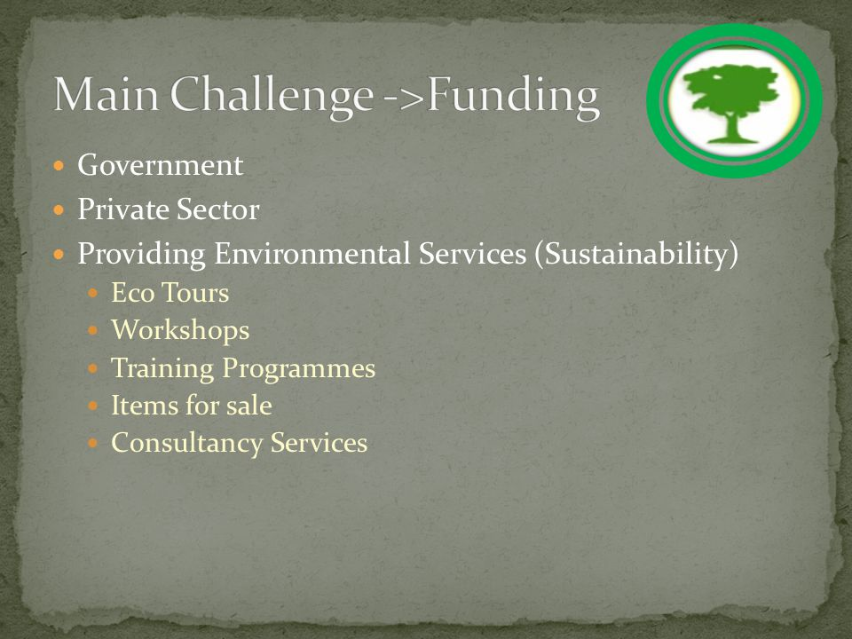 Government Private Sector Providing Environmental Services (Sustainability) Eco Tours Workshops Training Programmes Items for sale Consultancy Services