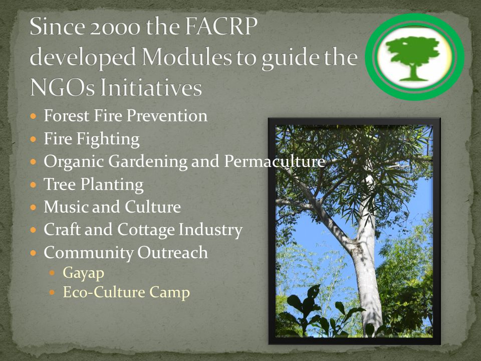 National Forest Fire Prevention Action Plan Focus on prevention Disaster awareness caravan Trained personnel in forest and bush fire suppression Patrol Unit Early detection and prosecution (forest fire law/charges) FACRP National Education Centre