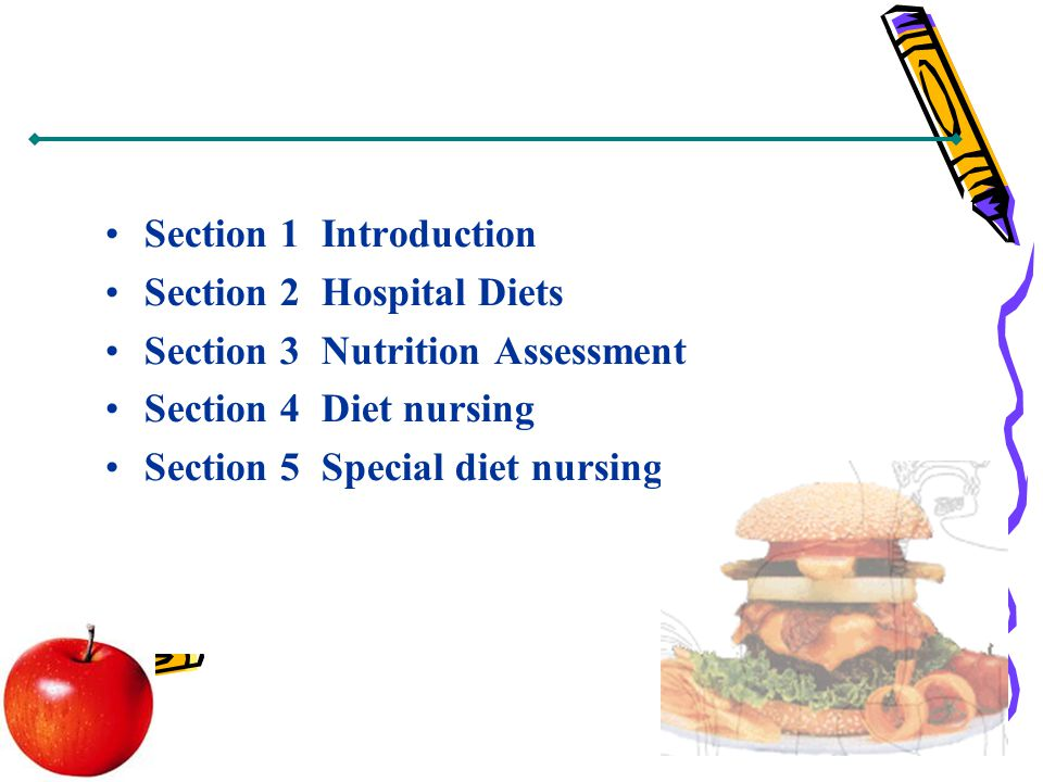 Section 1 Introduction Section 2 Hospital Diets Section 3 Nutrition Assessment Section 4 Diet nursing Section 5 Special diet nursing