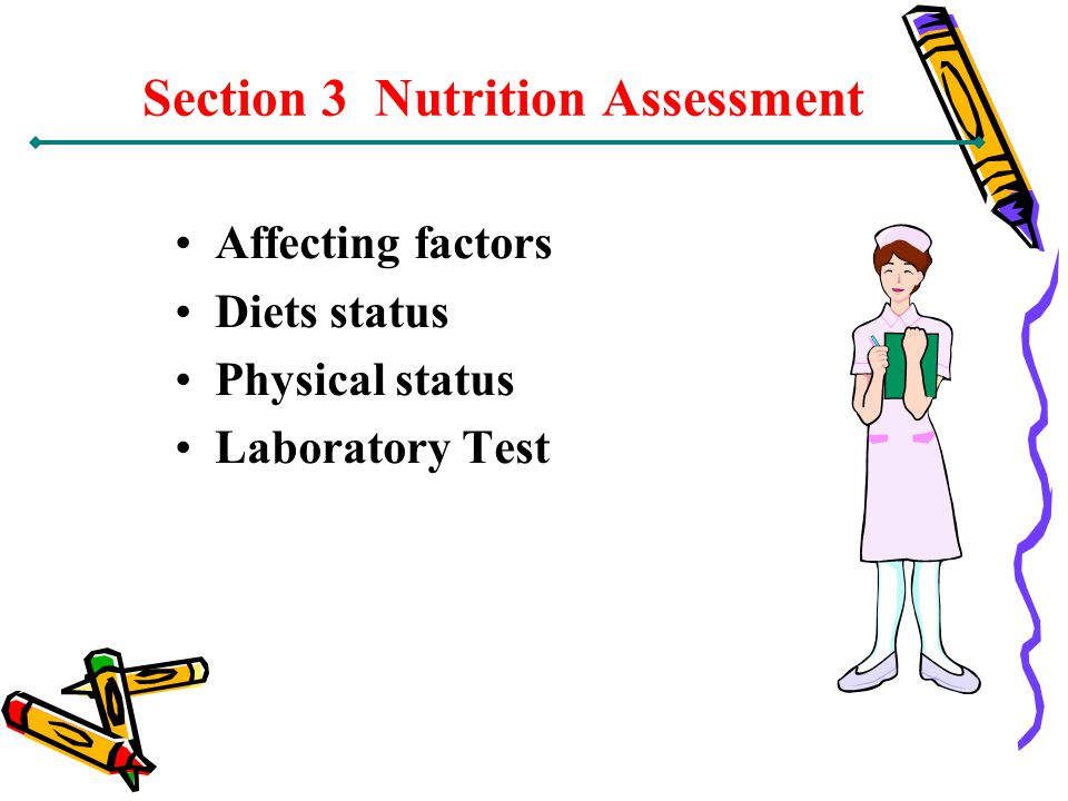 Section 3 Nutrition Assessment Affecting factors Diets status Physical status Laboratory Test